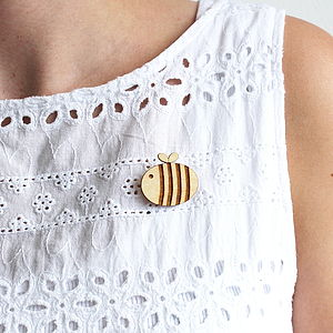 Wooden Bumble Bee Brooch - pins & brooches