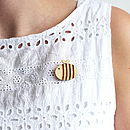Wooden Bumble Bee Brooch