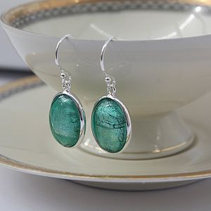 Murano Glass and Silver Oval Earrings - earrings