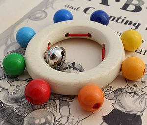 Wooden Baby Rattle Rainbow Beads And Bell - traditional toys & games