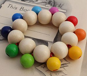 Wooden Baby Rattle With Bobbly Beads - toys & games