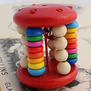 Wooden Red Baby Rattle With Bell - toys & games