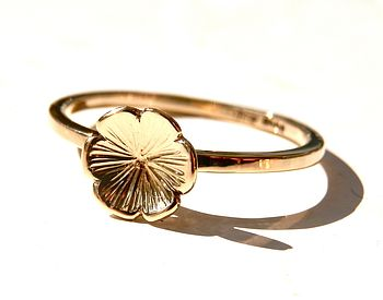 Engraved Petal Stacking Ring