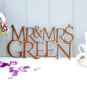 Personalised Mr And Mrs Rusty Metal Sign - occasional supplies