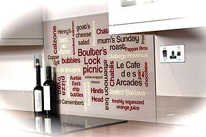 Personalised Typographic Kitchen Splashback