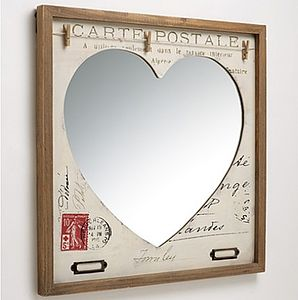 'Carte Postale' Vintage Inspired Heart Mirror - bedroom