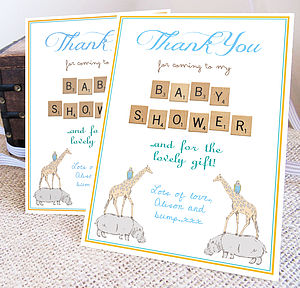 Personalised Baby Shower 'Thank You' Card - thank you cards
