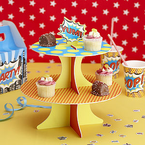 Superhero Pop Art Party Cupcake Stand - cake decoration