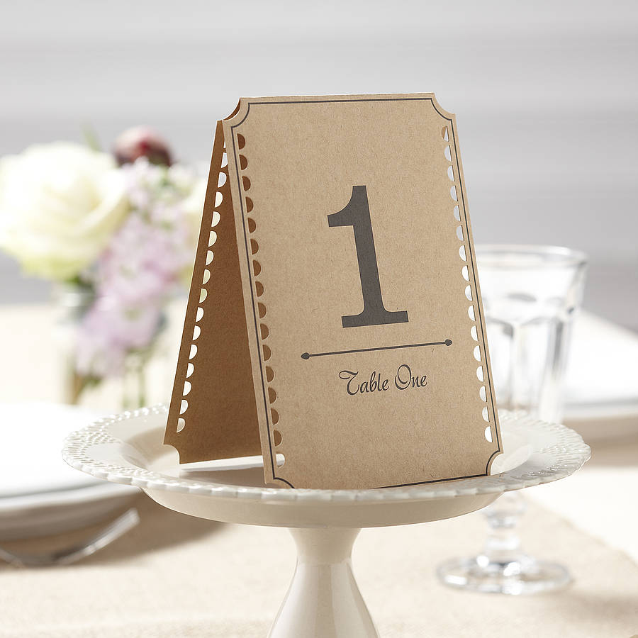 rustic brown kraft wedding table numbers by ginger ray. Black Bedroom Furniture Sets. Home Design Ideas