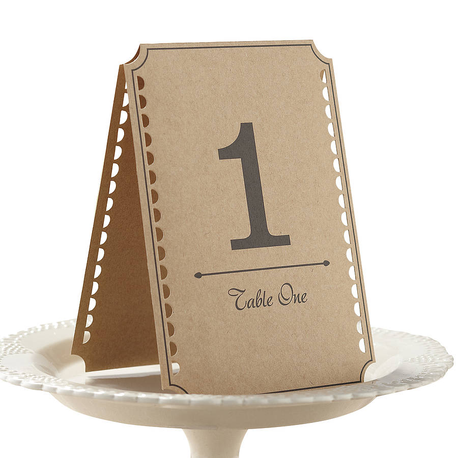 Rustic brown kraft wedding table numbers by ginger ray for Table numbers