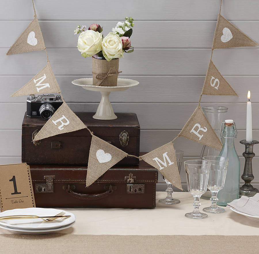 vintage style hessian burlap mr mrs bunting by ginger ray. Black Bedroom Furniture Sets. Home Design Ideas