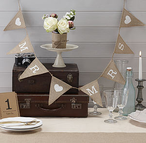 Vintage Style Hessian Burlap Mr & Mrs Bunting - decoration
