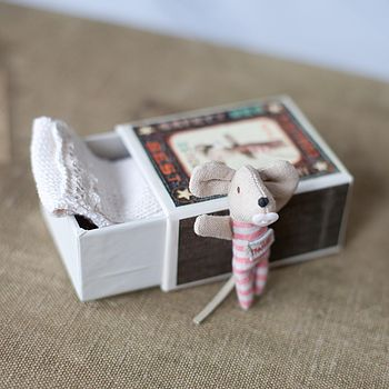 Newborn Baby Girl Mouse In Match Box