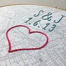 Vintage map in hoop with embroidered heart, date and initials in print font