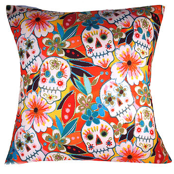 Cool Modern Retro Skulls Red Glitter Cushion