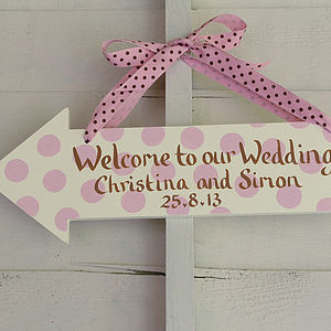 Personalised Wooden Arrow Sign - outdoor wedding signs