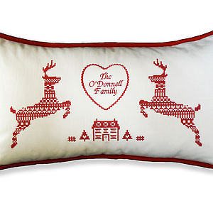 Fair Isle Reindeer Cushion - christmas home accessories