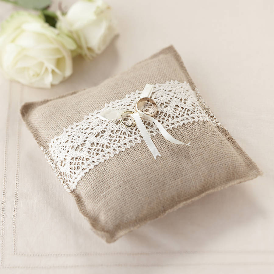 vintage rustic wedding hessian ring cushion by ginger ray