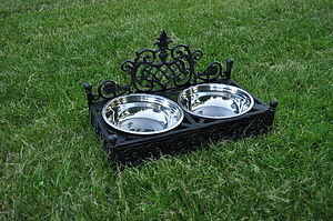 Posh Dog Bowls In Decorative Cast Iron Holder - dogs