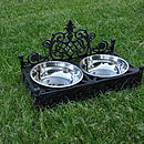 Posh Dog Bowls In Decorative Cast Iron Holder