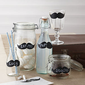 Reuseable Moustache Chalk Board Jar Labels