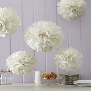 Pack Of Five Tissue Paper Pom Poms - hanging decorations