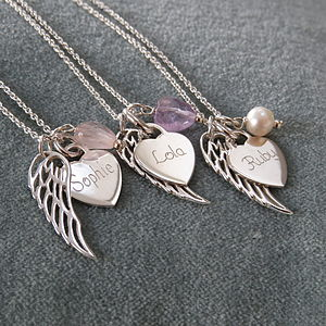 Personalised Silver Heart & Angelwing Pendant - children's accessories