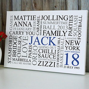 Personalised 18th Birthday Word Art Print - paintings & canvases