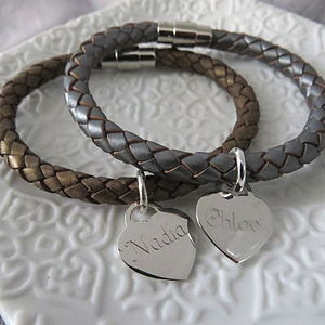 Personalised Silver And Leather Bracelet - women's jewellery
