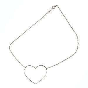 9ct White Gold 'Fil D'amour' Heart Necklace 9ct - women's jewellery
