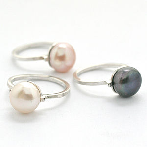 Silver Deco Pearl Solitaire Ring - women's jewellery