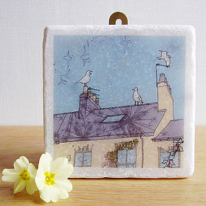 Seagulls And Chimney Pots Decorative Tile - decorative accessories