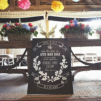 Personalised Wedding Chalkboard Canvas Print