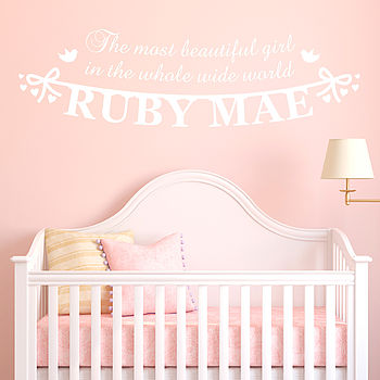Personalised 'Beautiful Girl' Wall Sticker