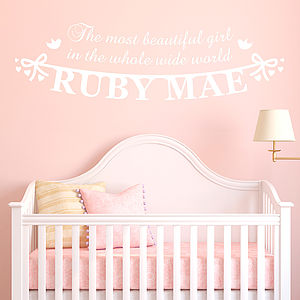 Personalised 'Beautiful Girl' Vinyl Wall Sticker - wall stickers