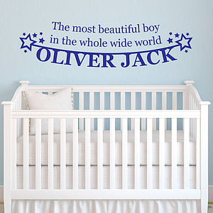 Personalised 'Beautiful Boy' Vinyl Wall Sticker - baby child picks