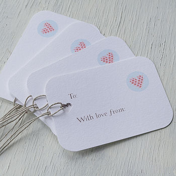 A set of 4 tags that can be personalised with your own words
