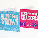 two designs from pack of christmas cards