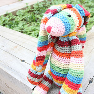 Hooped Crocheted Bunny - soft toys & dolls