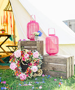 Pink Mesh Lantern - outdoor lights