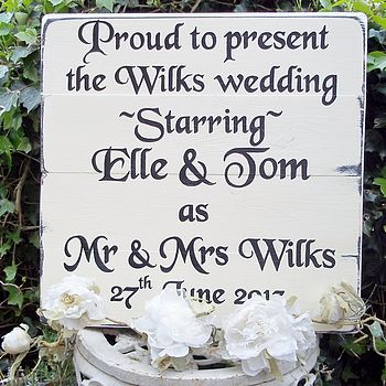 Personalised Large Vintage Wedding Sign