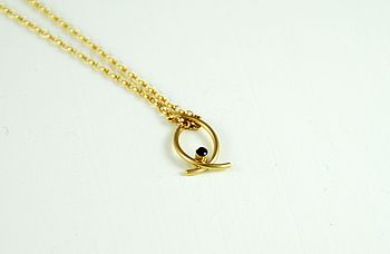 Wishbone Necklace With Gemstone