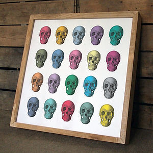 Handmade 'Skulls' Wooden Art Print - contemporary art