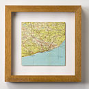 Map Location Square Wedding Anniversary Print 21cm