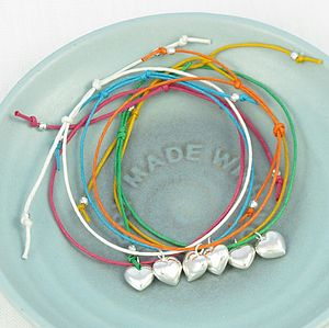 Silver Heart Charm Colour Friendship Bracelet - children's jewellery