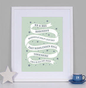 Personalised Ribbon Wedding Print