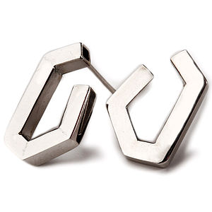 Handmade Geometric Silver Earrings