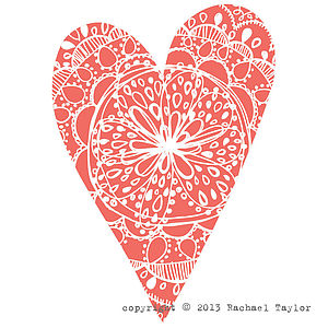 Coral Bohemian Heart Decoration
