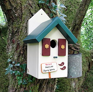 Personalised Handcrafted Forest Lodge Bird House - small animals & wildlife