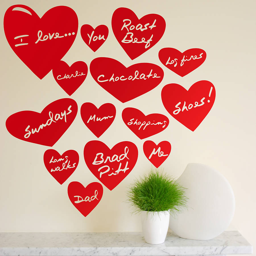 personalised love heart wall stickers by the bright blue